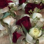 burgundy and ivory corsage closeup