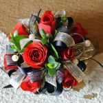 red spray rose wrist corsage