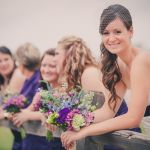 purple anthropologie style bridal and bridesmaids bouquets