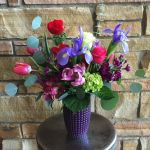 purple polka dot vase