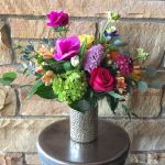 bold silver hearts vase bouquet