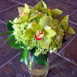 green hydrangea and cymbidium orchid bridal bouquet