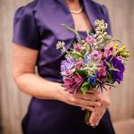 purple bridesmaid closeup