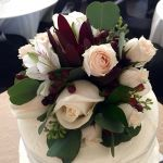 burgundy and ivory cake topper