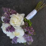 white peony and purple lilac bridal bouquet