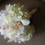 white hydrangea and cymbidium orchid bridal bouquet