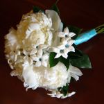 white peony and stephanotis bridal bouquet