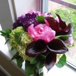 pink peony, purple mini calla lily bridal bouquet