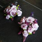 purple spray rose corsages