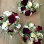 burgundy and ivory corsages