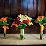fall bride and bridesmaids bouquets