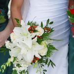 white lily and red rose cascade bridal bouquet