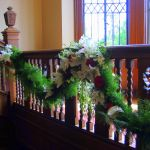 red and white stairway garland