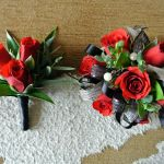custom red spray rose corsage $39.95  matching boutonniere $12.95