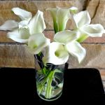 white mini calla lily bridesmaids bouquets