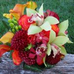 fall colored orchis, dahlia and rose bridal bouquet