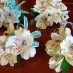 white and Tiffany blue corsages