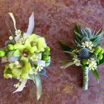 green orchid corsage and boutonniere