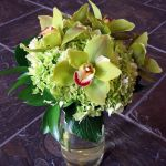 green cymbidium orchid bridesmaid bouquet