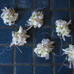white pearl wrist corsages