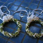 white waxflower hair wreaths