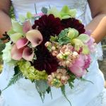 pink mini calla and burgandy dahlia bridal bouquet