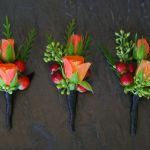 orange sprayrose boutonnieres