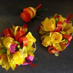 yellow sprayrose wrist corsages and boutonniere